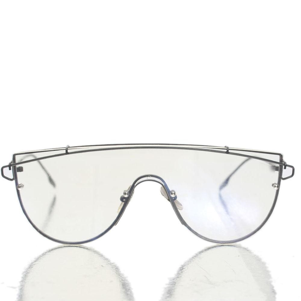 Black Shield Transparent Lens Glasses