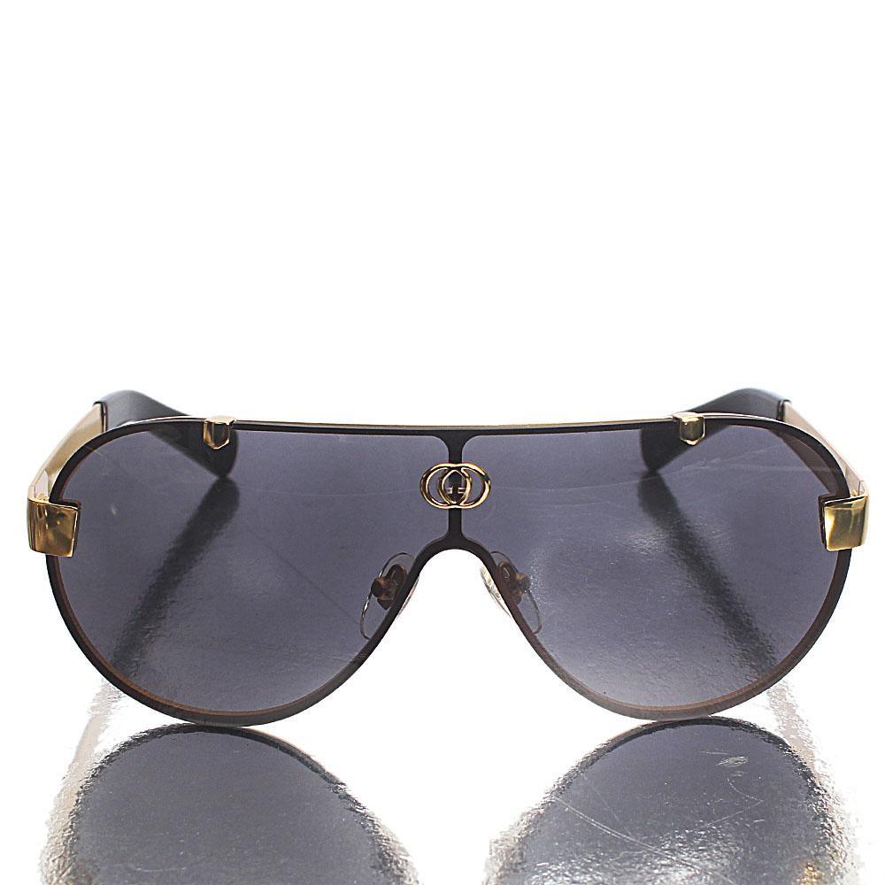 Gold Black Shield Lens Sunglasses