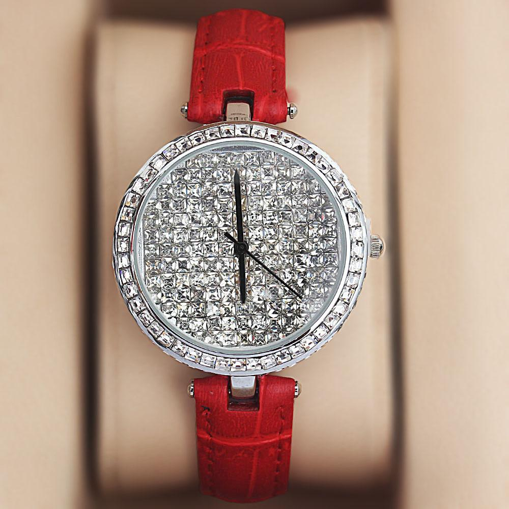 Silver Red Crystal Ice Studded Leather Ladies Watch