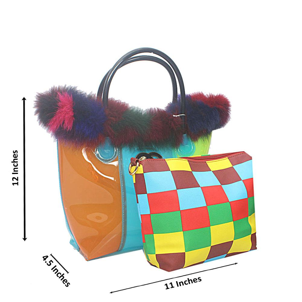 Orange Blue Lemon Medium Rubber Handbag
