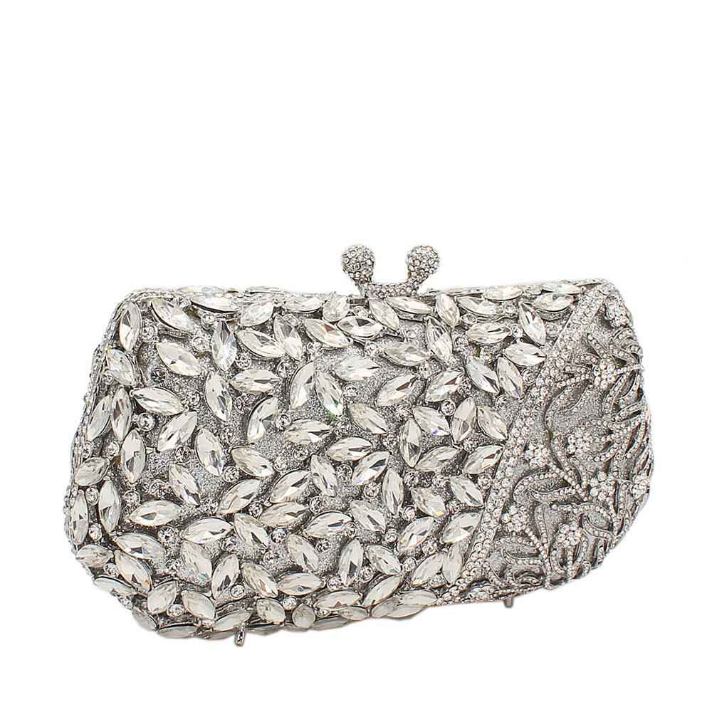 Silver Glass Wet Petals Diamante Crystals Clutch Purse