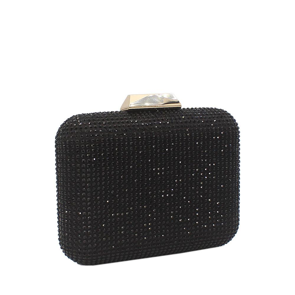 Black Nina Crystals Studded Clutch Purse