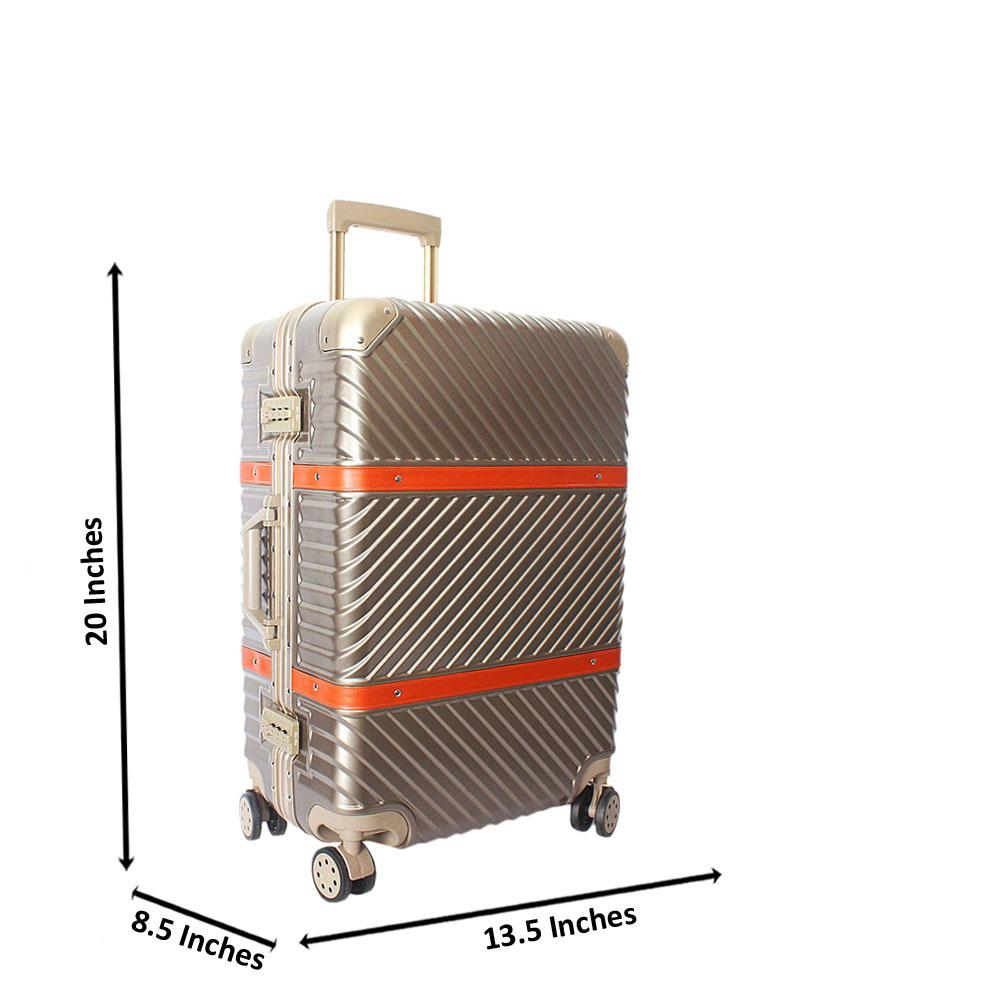 Gold 20 Inch Hardshell 4 Wheels Spinners Carry On Luggage