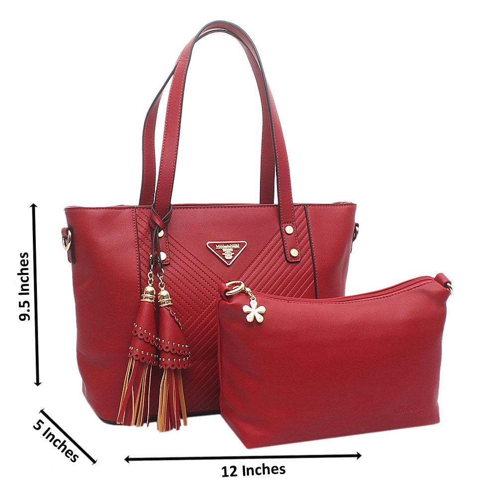 Red Medium Milanzi Leather Handbag
