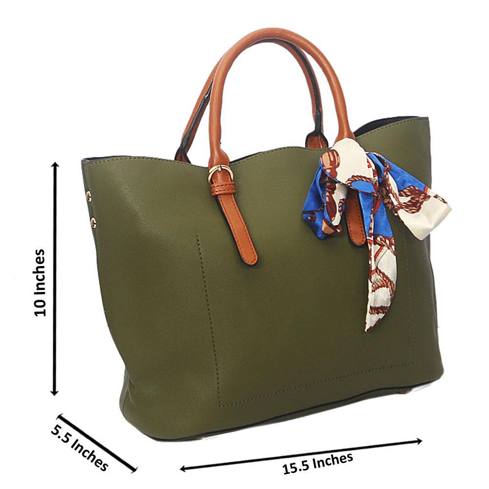 Green Brown Zoe Leather Tote Handbag