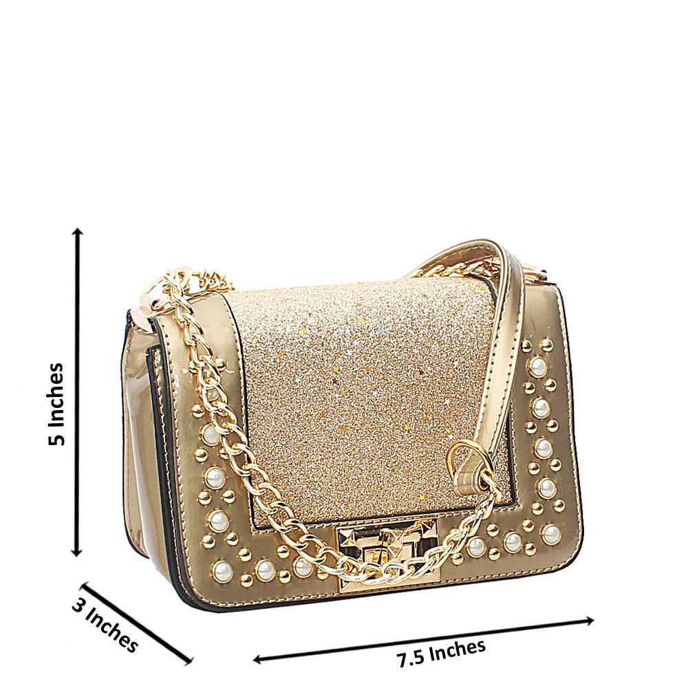 Gold Rose Pearl Glitz Patent Leather Mini Crossbody Bag