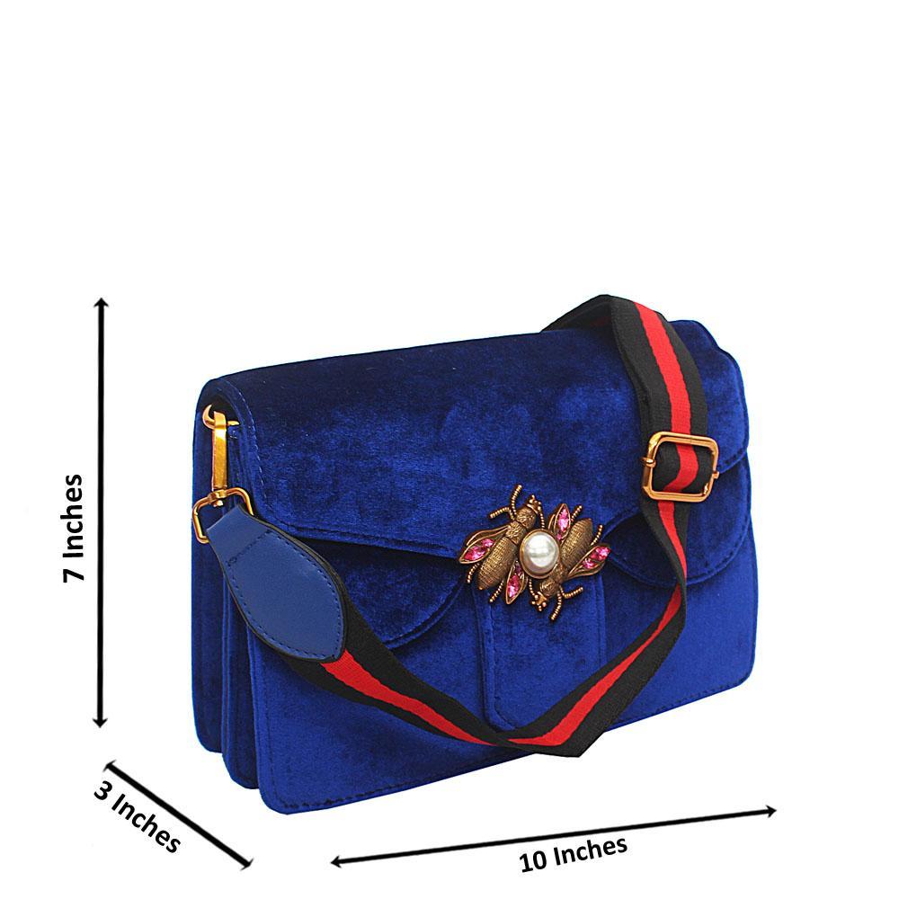 Blue Hallie Corduroy Fabric Crossbody Handbag