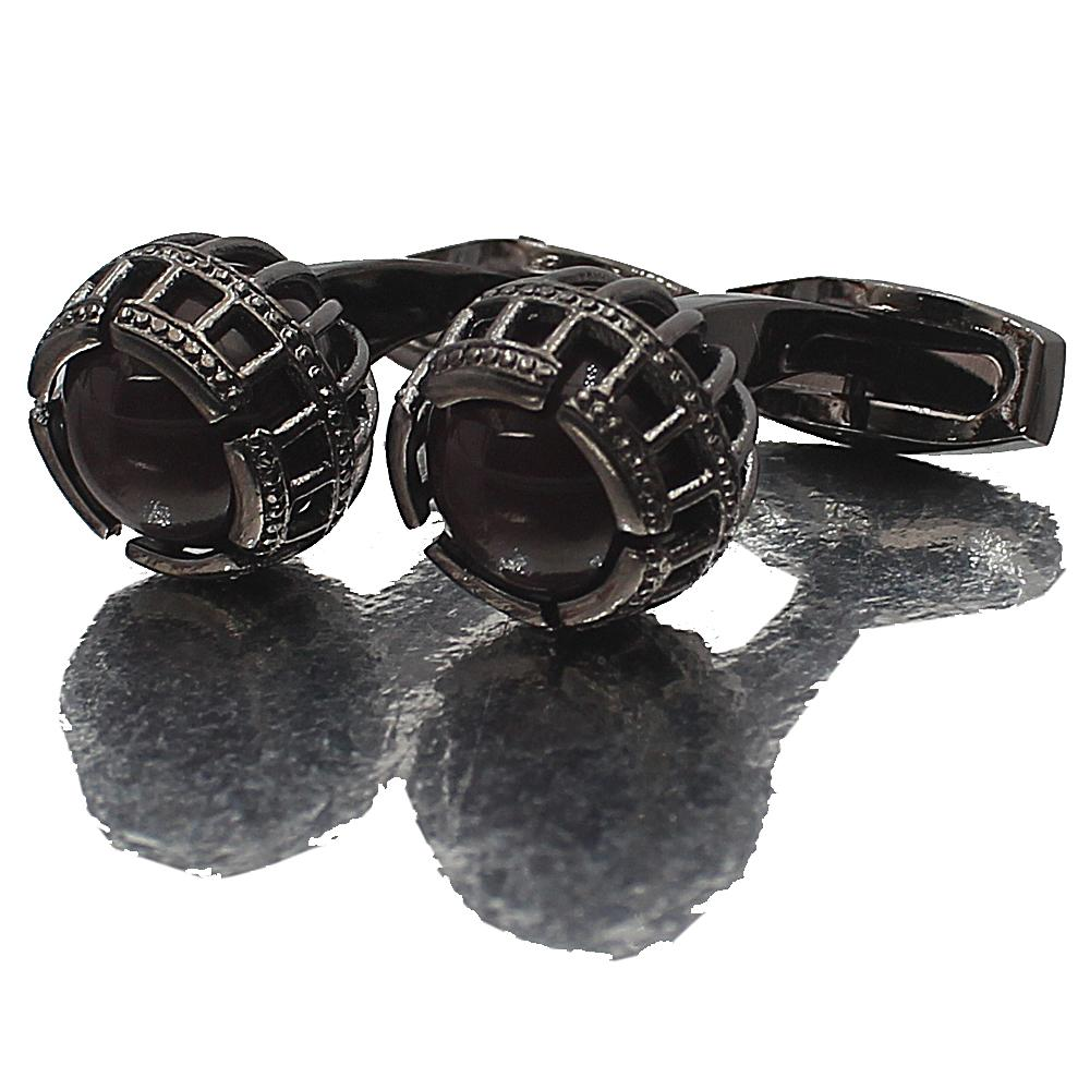 Black Precious Pearl Stainless Steel Cufflinks