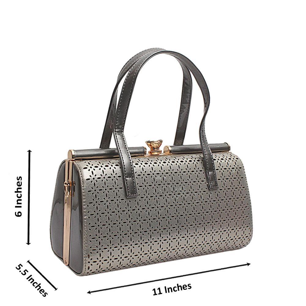 London Style Silver Grey Patent Leather Handbag