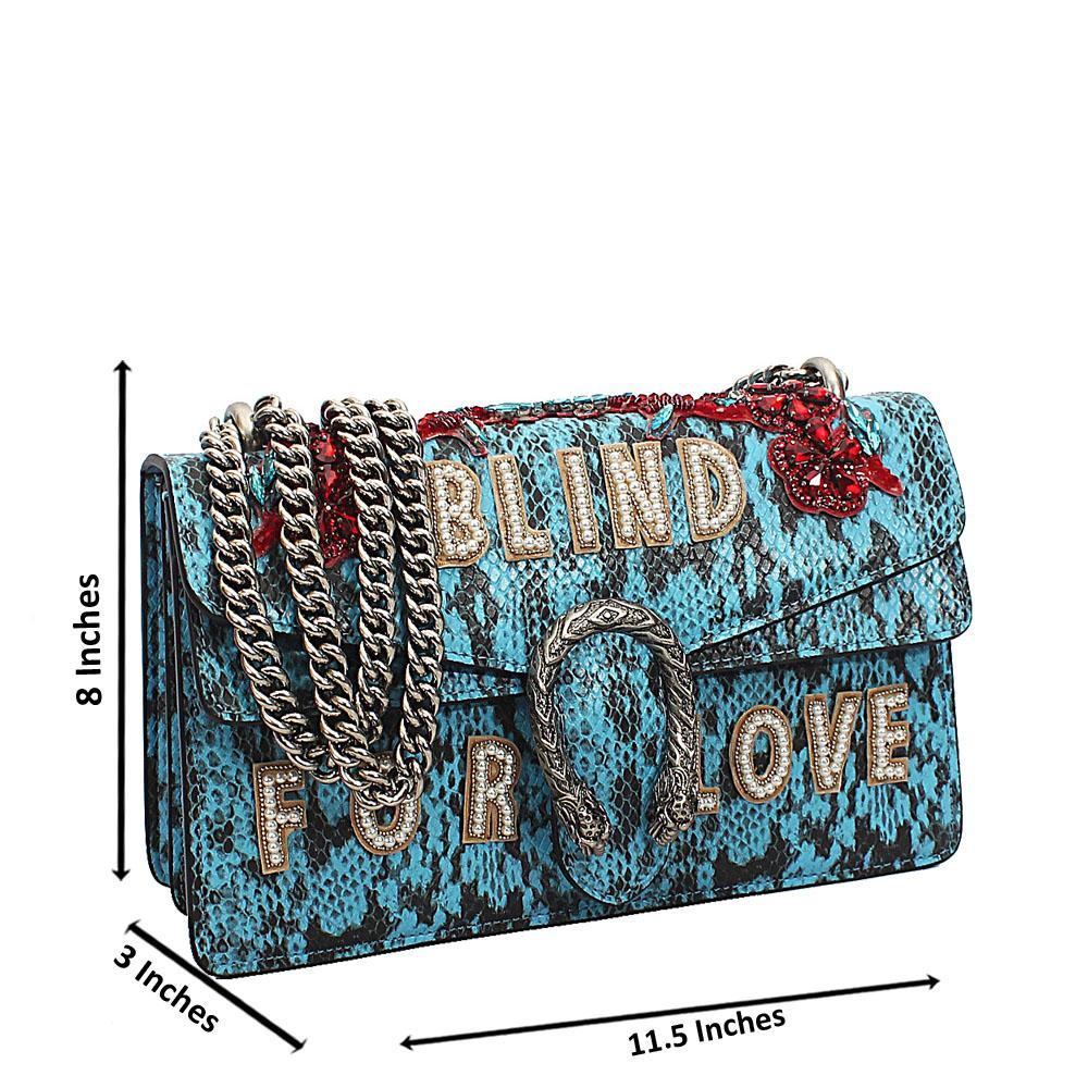Blue Black Saffiano Leather Chain Crossbody Handbag