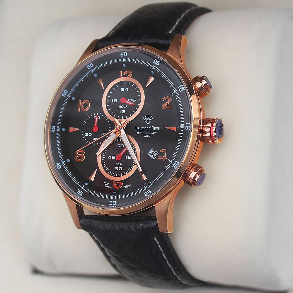 Daymone Rene 5ATM Gold Black Leather Strap Tag Watch