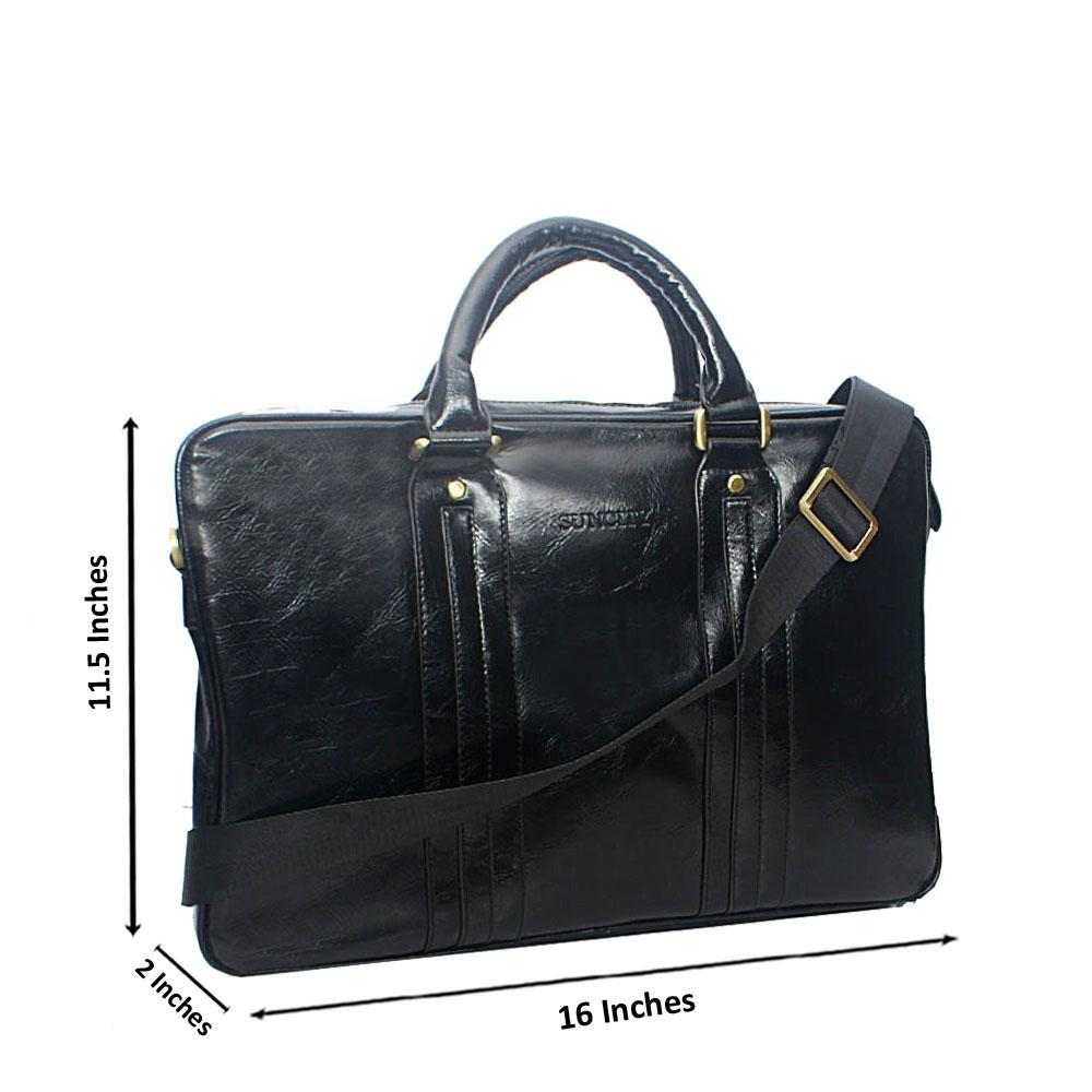 Black Structured Leather Tote Man Bag