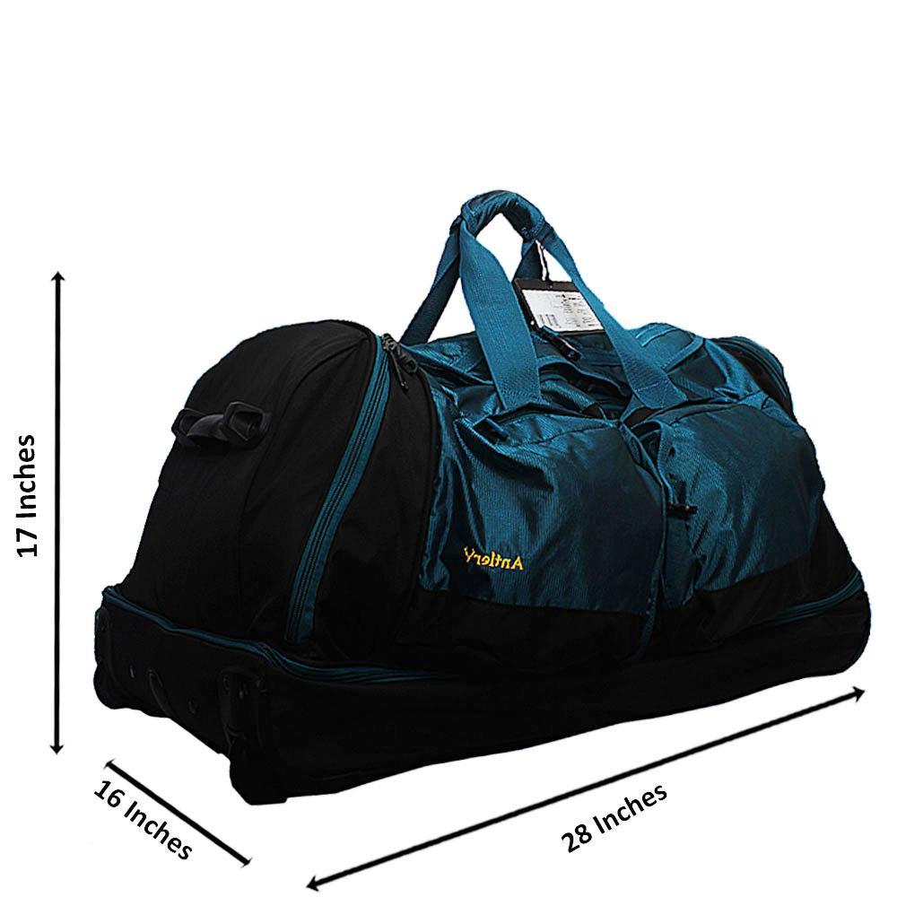 Antler Black Blue 24 Inch Mega Decker Fabric 2 Wheels Foldable Trolley Bag