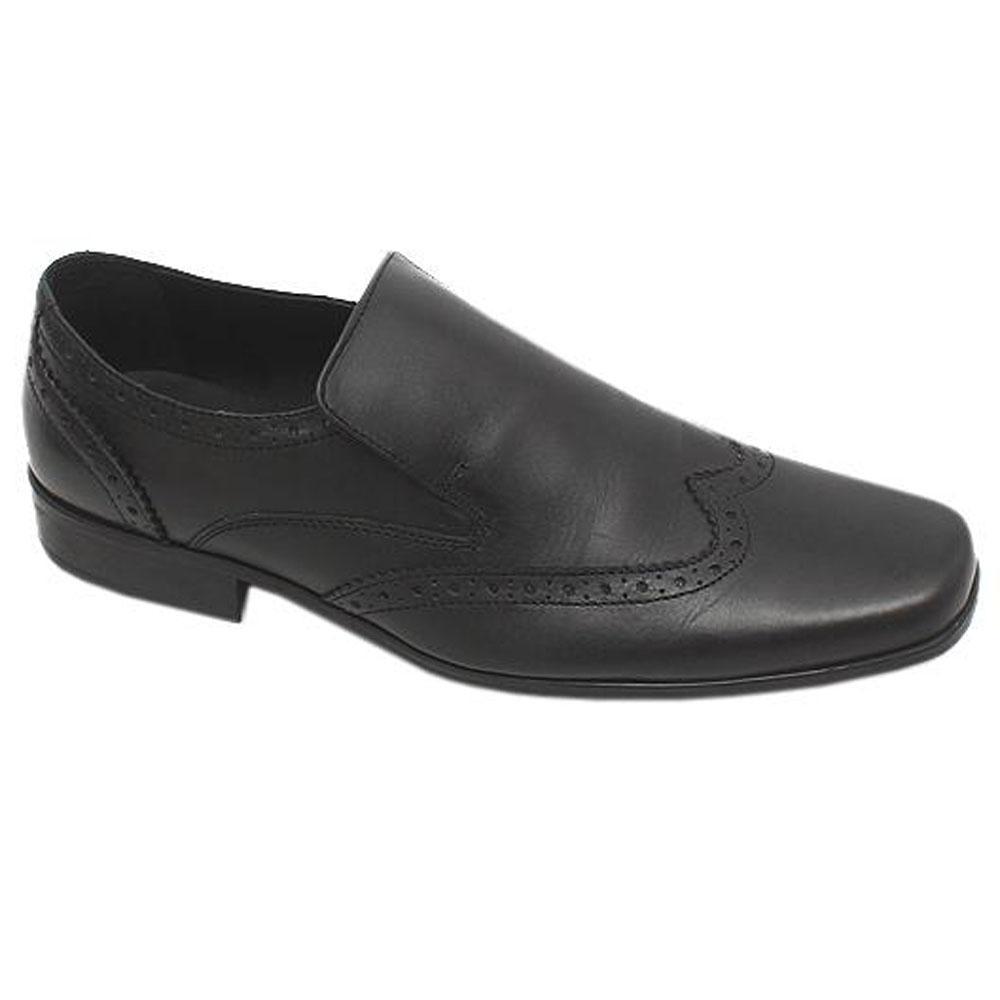 M & S Collection Black Leather Men Shoe-Sz 43