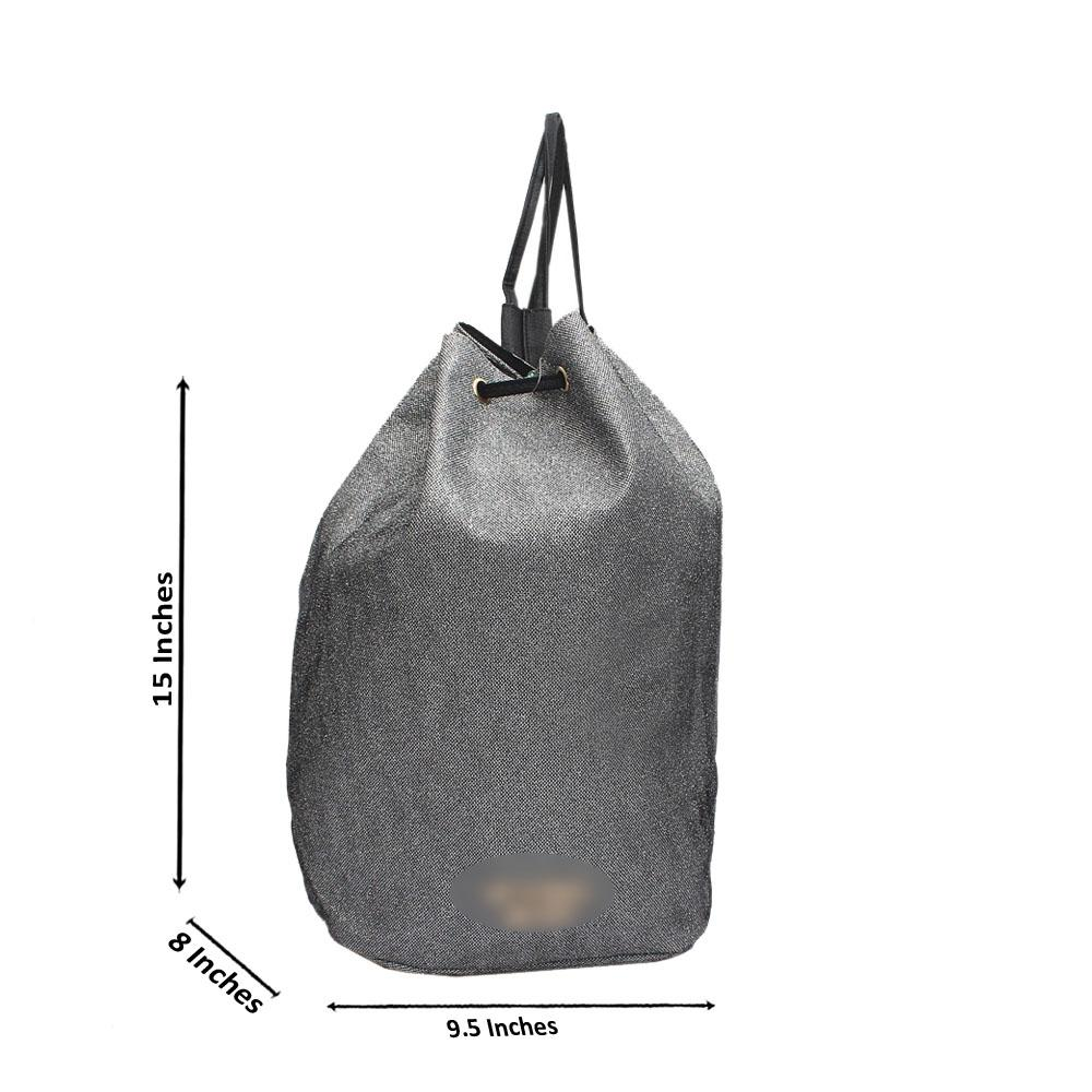 VS Silver Shimmering Leather Bucket Bag