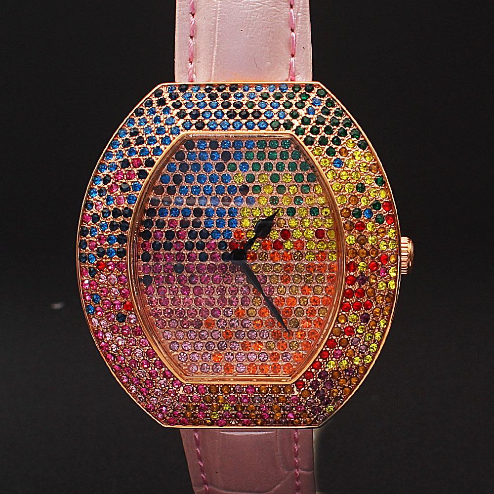 Baby Pink Multi-Colored Studded Leather Ladies Watch