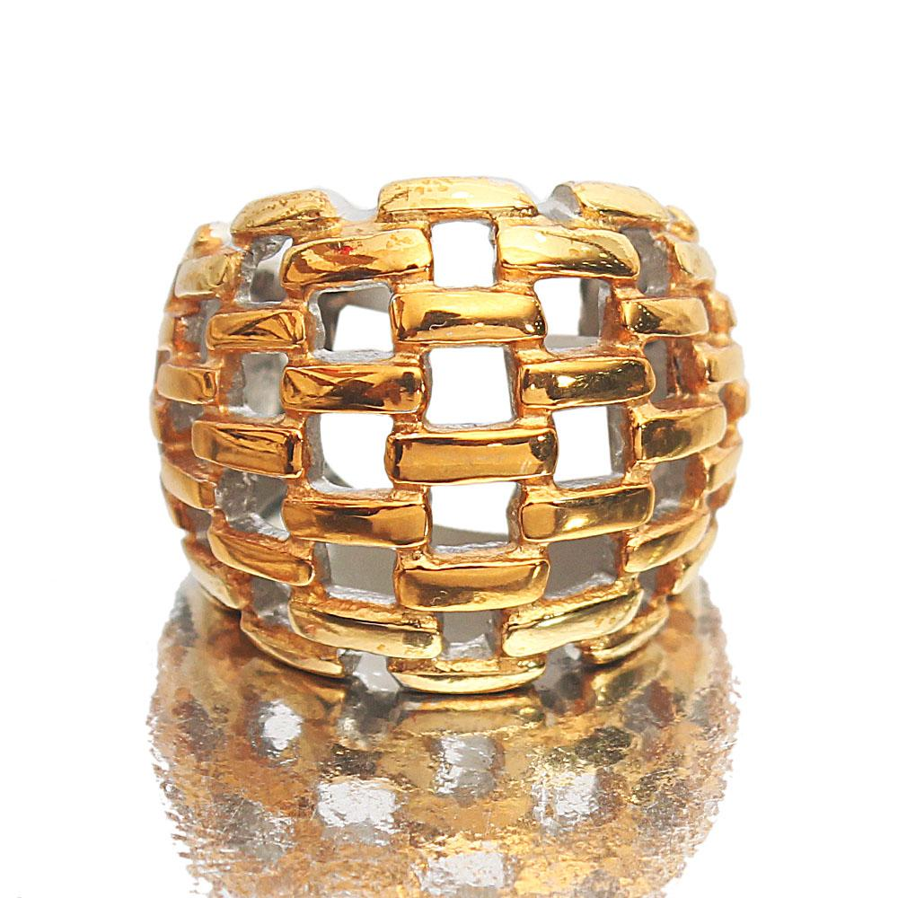 Twin-Tone Stainless Steel Mesh Style Vintage Ladies Ring