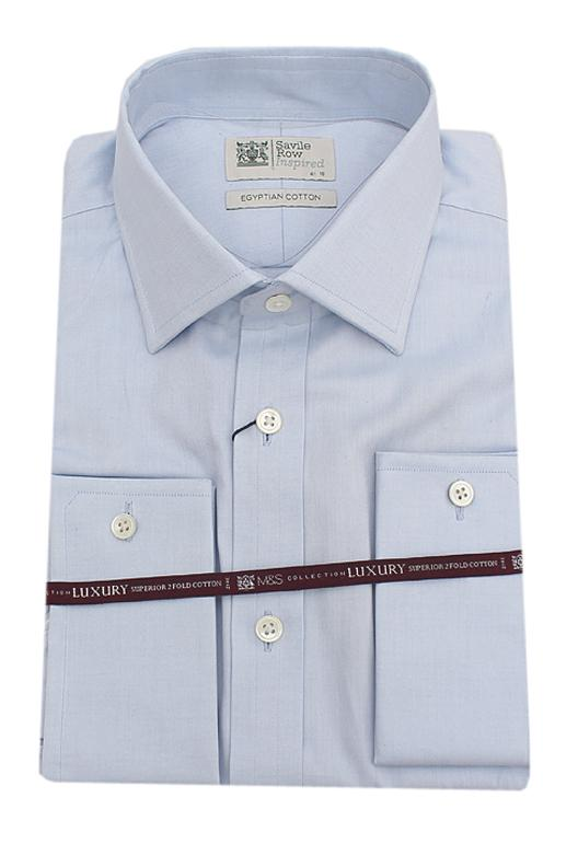 Savile Row Inspired Sky L/Sleeve Men Shirt Wt Cuffs