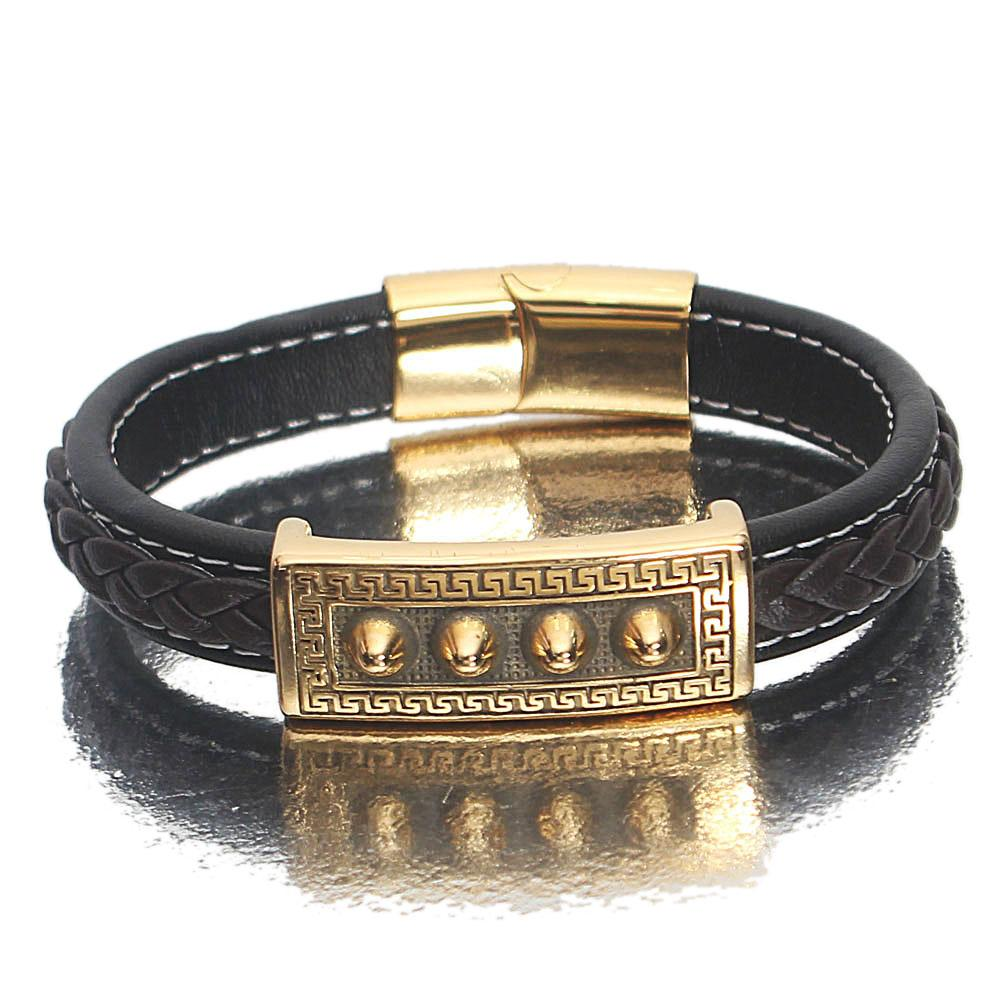 Gold Etched Navy Coffee Leather Bracelet