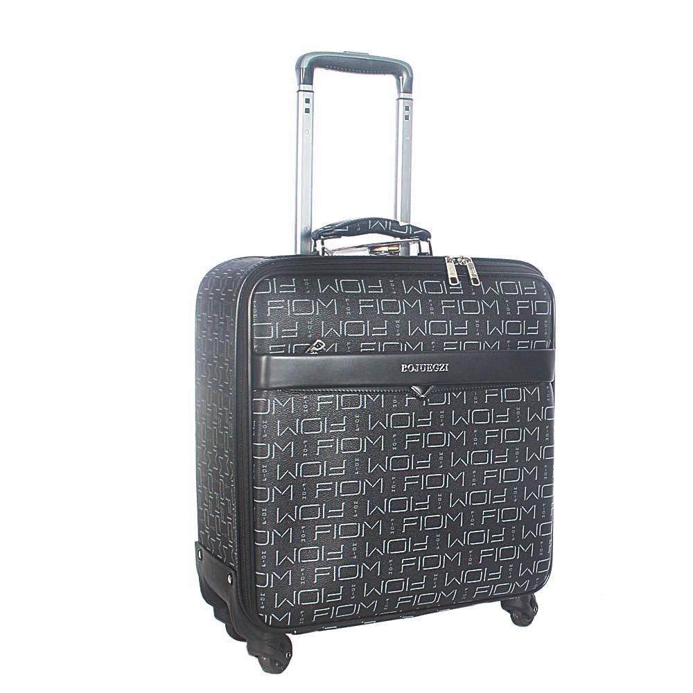 Black 16 Inch Leather Pilot Suitcase Wt Lock