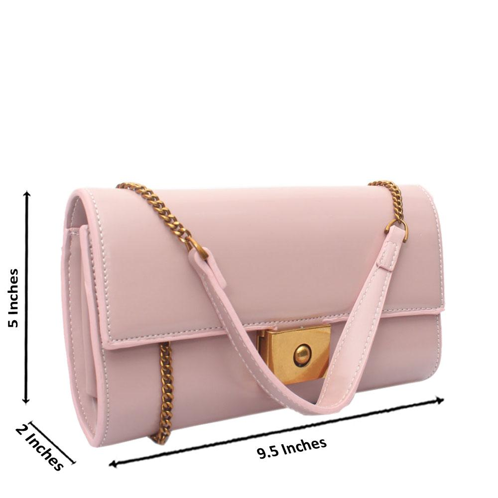 Pink Leather Crossbody Purse