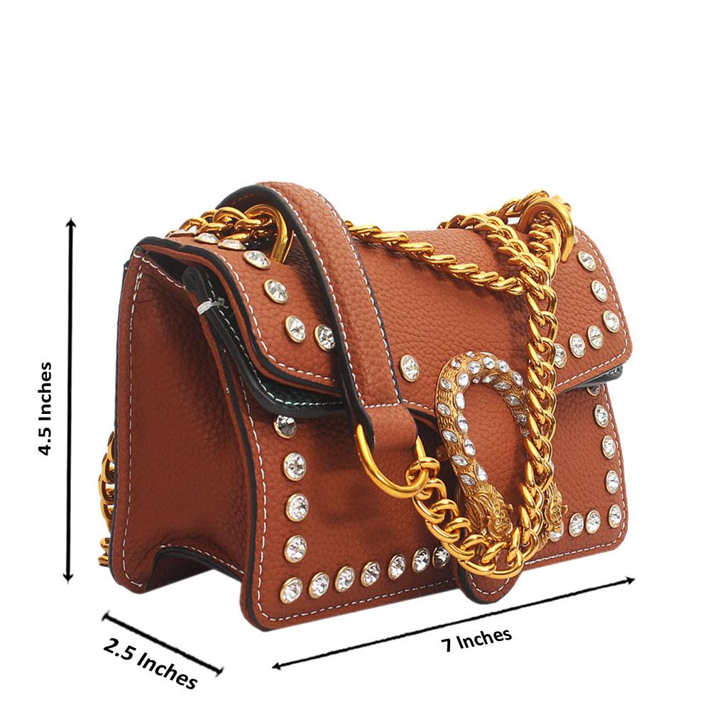 Brown Leather Super Mini Bag Wt Crystals