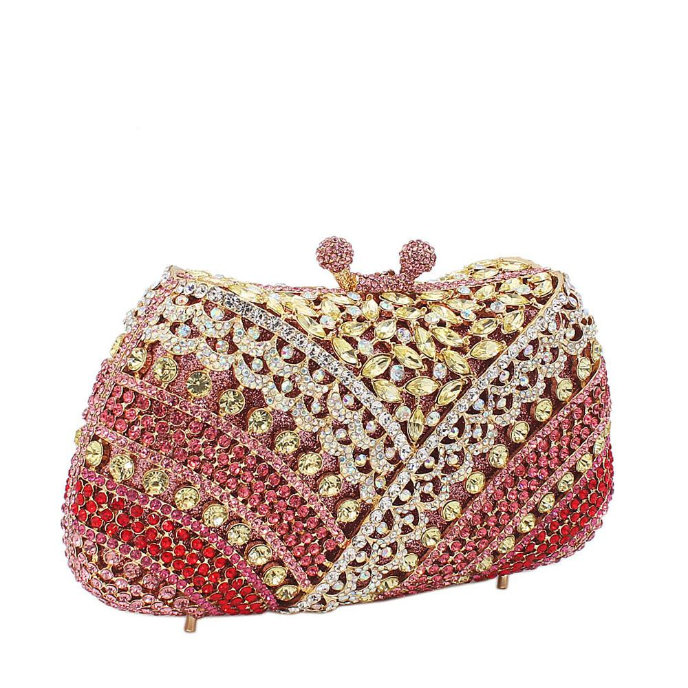 Red Green Mix  Diamante Crystals Clutch Purse