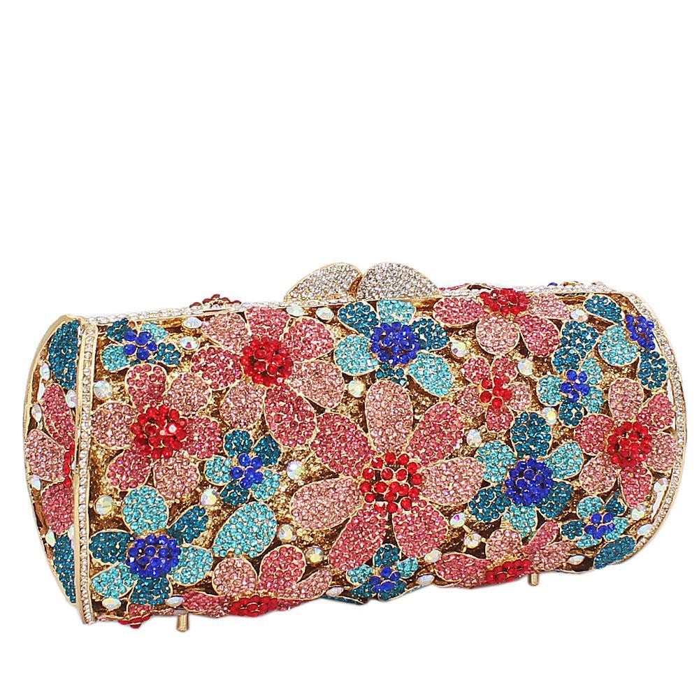 Multicolored Rose Petals Diamante Crystals Clutch Purse