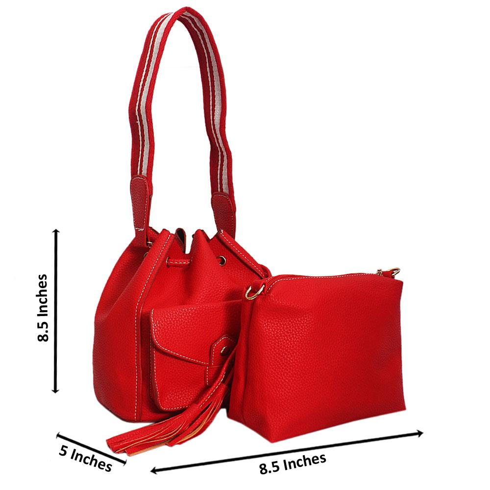 Red Amelia Tandy Leather Mini Bucket Handbag