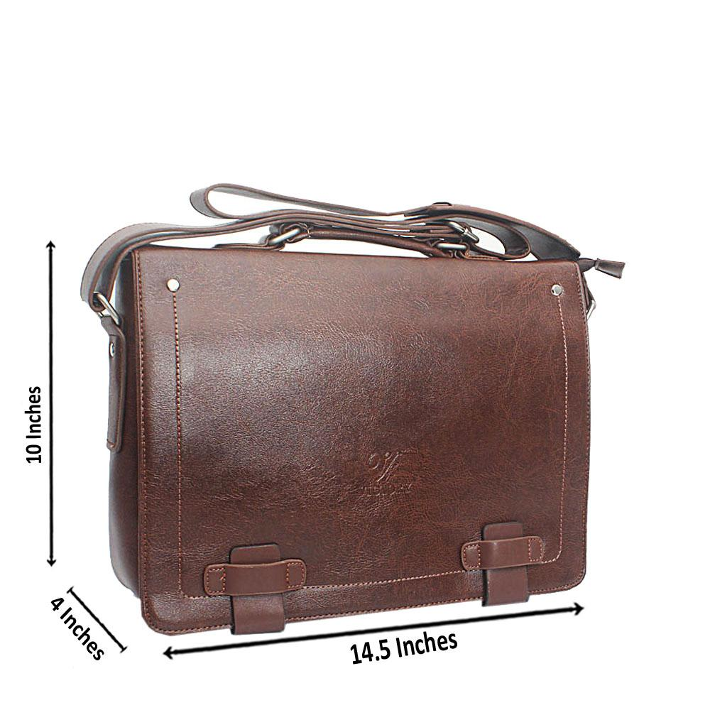 Brown Casania Flip Leather Messenger Bag