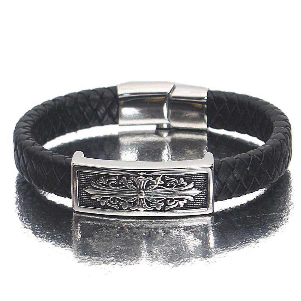 Silver Black Floral Leather Bracelet
