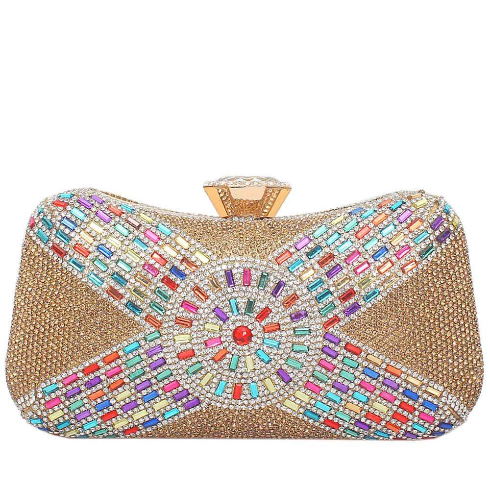 Gold Glitz Studded Premium Hard Clutch
