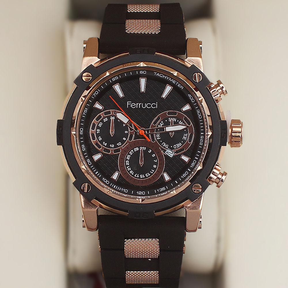 Ferrucci Berry Fashion Watch wt Brown Rubber Strap