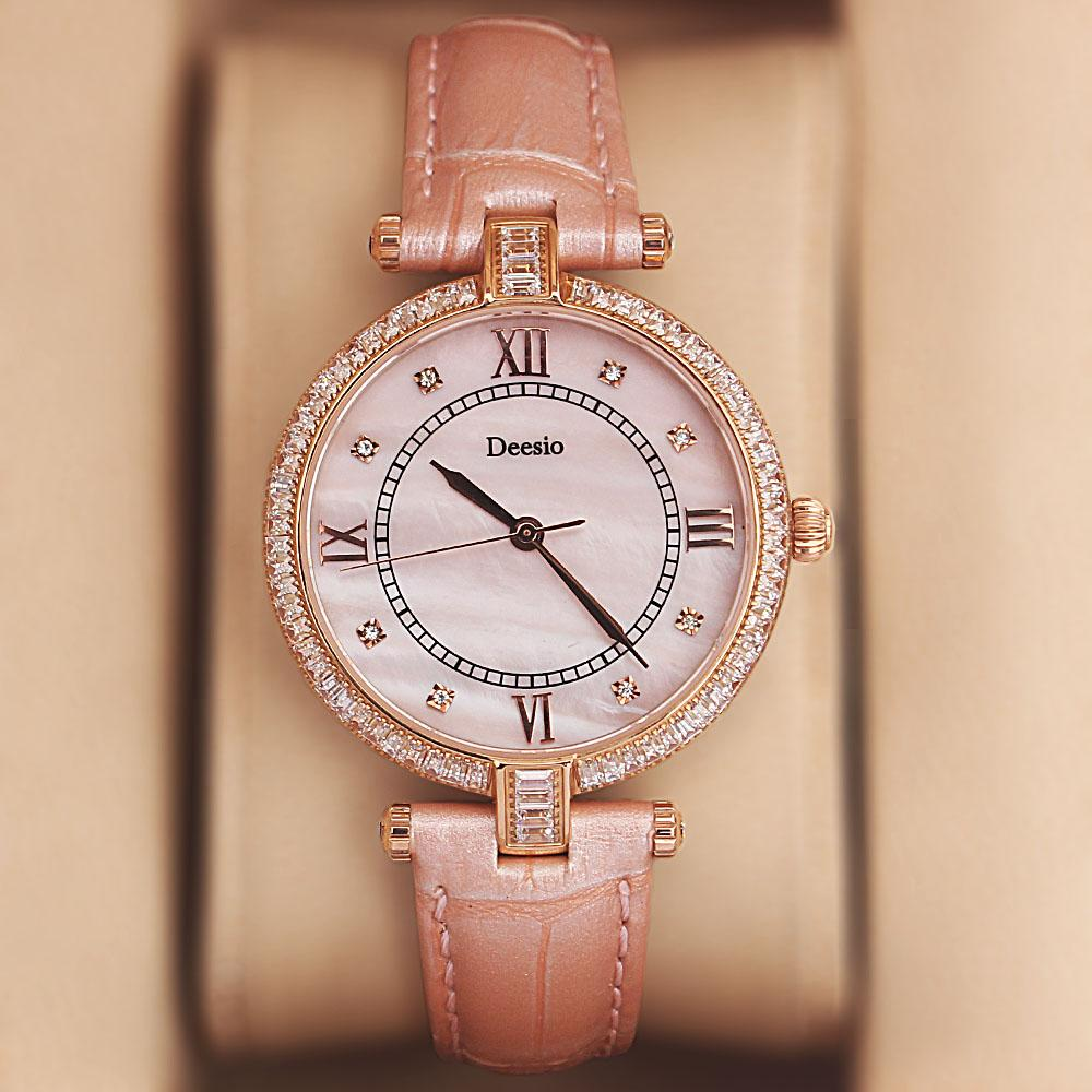 Deesio Gold Studded Pink Leather Ladies Watch