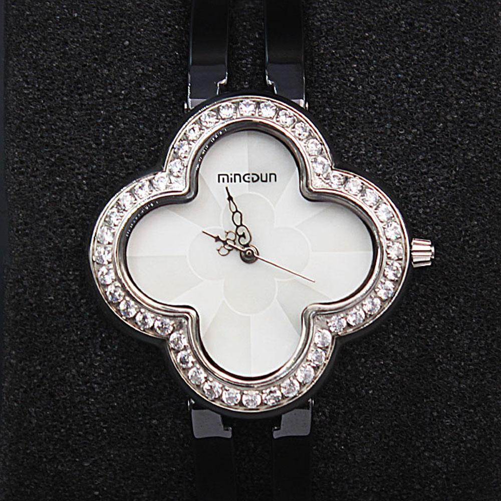 Empire Black Flower wt Steel Casing Studded Ceramic Ladies Watch