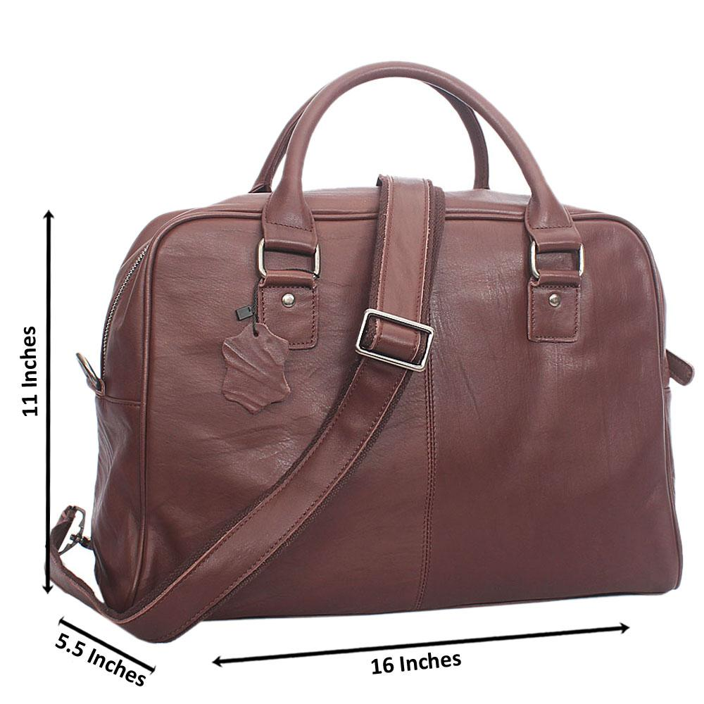 Coffee Brown smooth Grain Leather  briefcase
