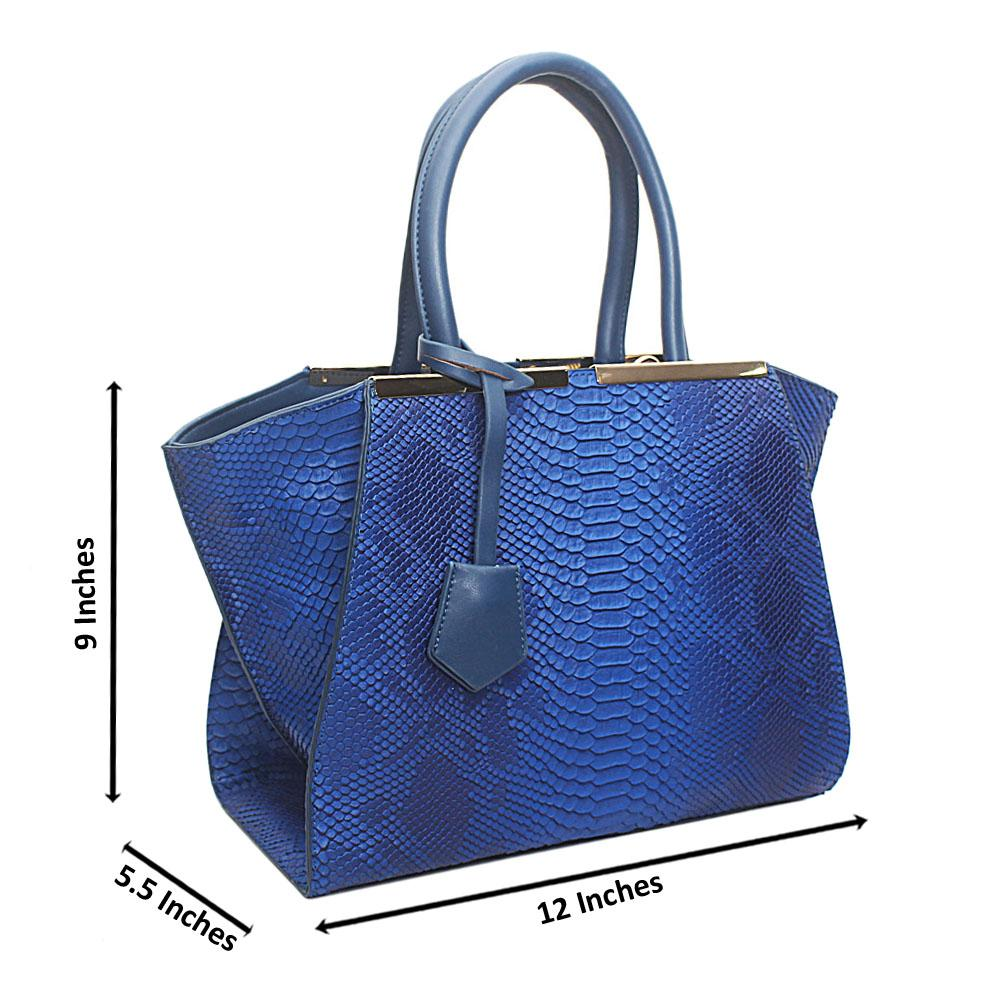 Blue Leather Medium Animal Skin Handbag