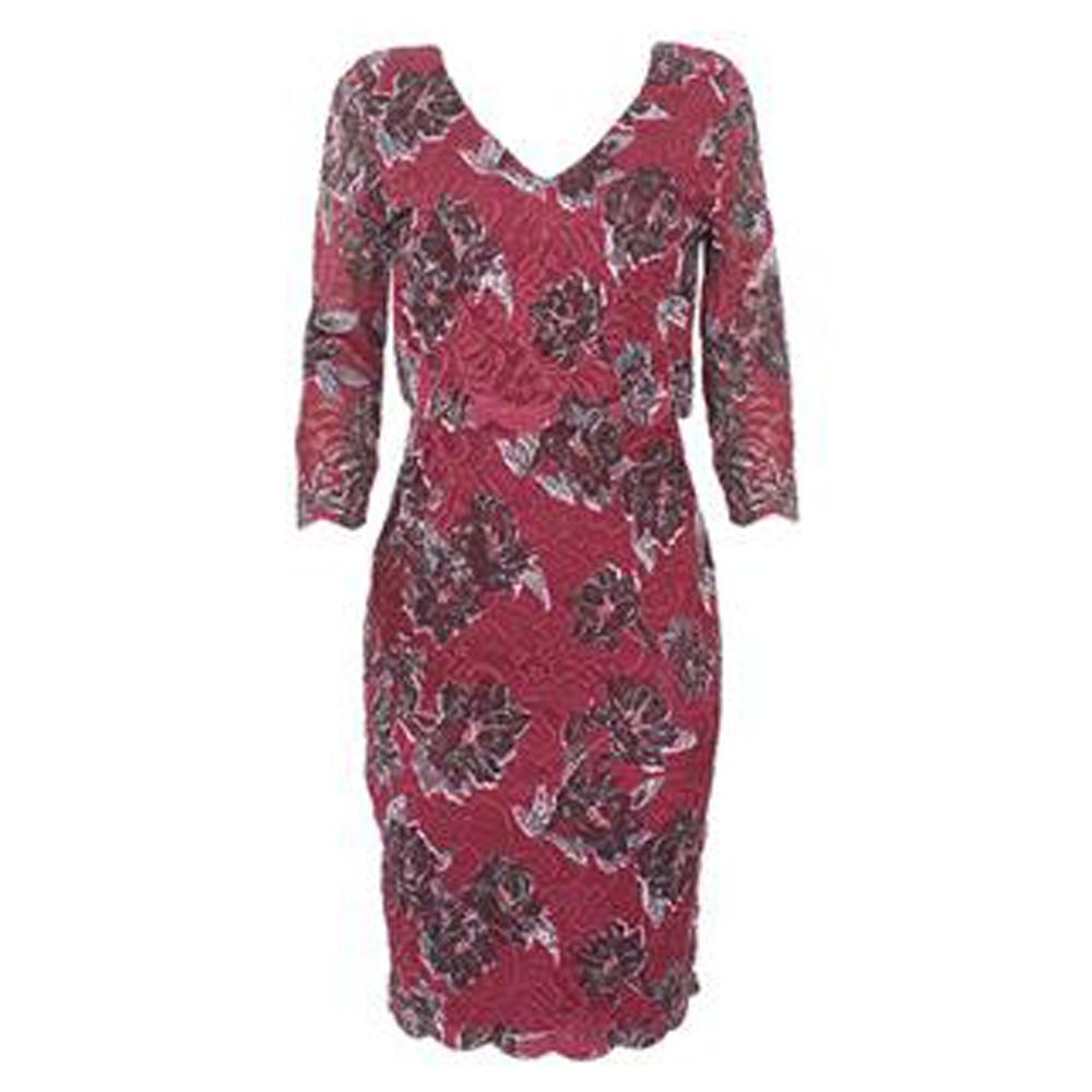 Peruna Wine 3/4 Sleeve Lace Dress UK 10