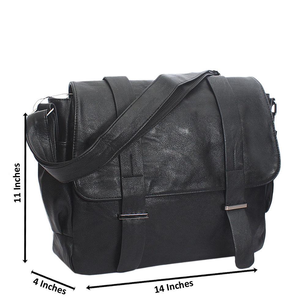 Marcello Black Cassania Leather Messenger Bag