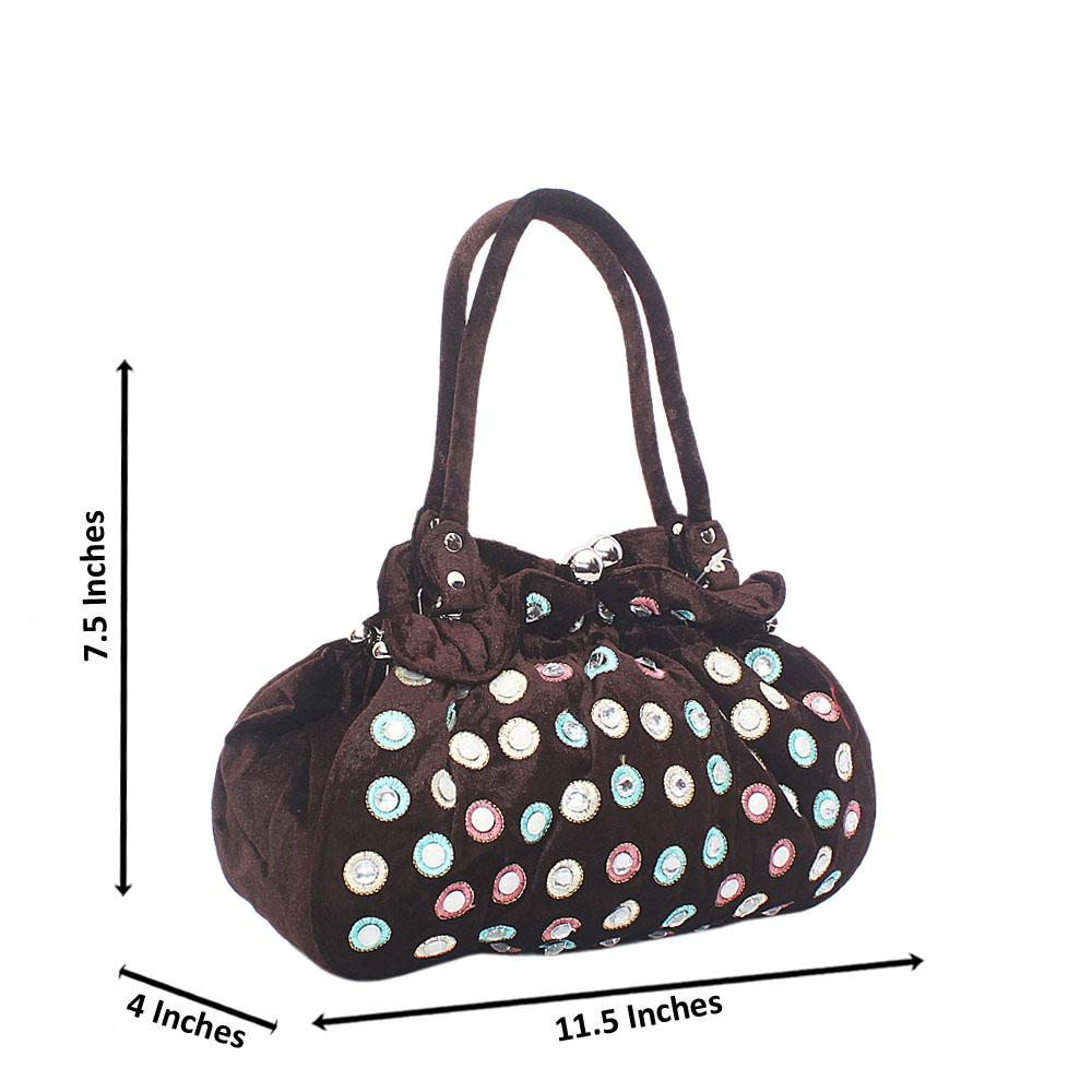 Black Mix Buttercup Pearls Studded Floral Fabric Hobo Bag