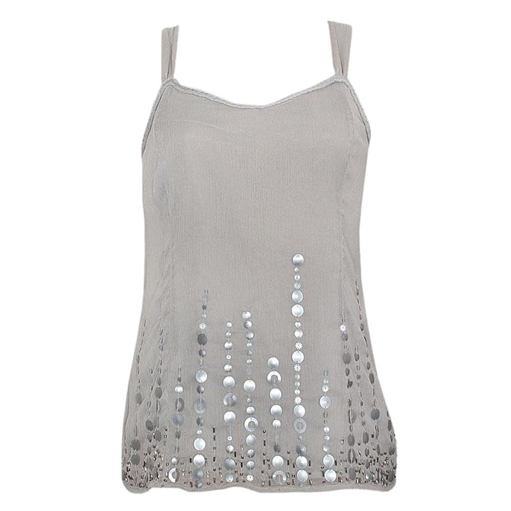 M & S Per Una Gray Spaghetti Top Wt Sequins- US 14