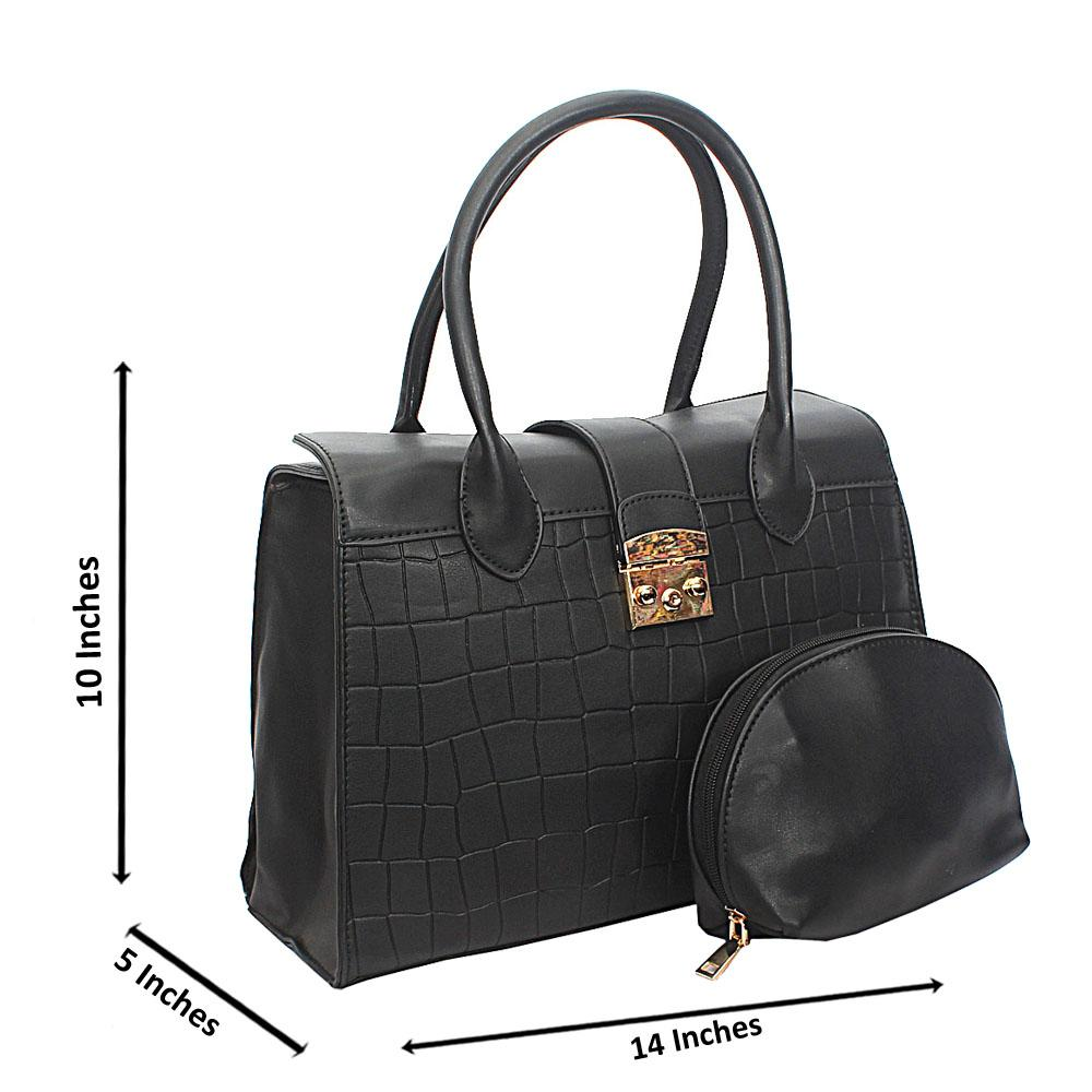 Black Lotti Smooth Croc Leather Tote Handbag