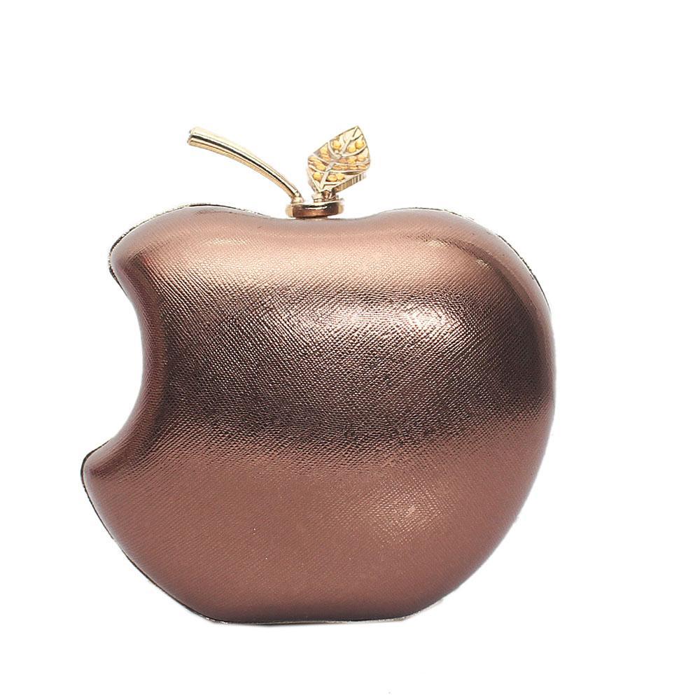 Metallic-Brown-Evoke-Apple-Style-Hard-Clutch-Purse