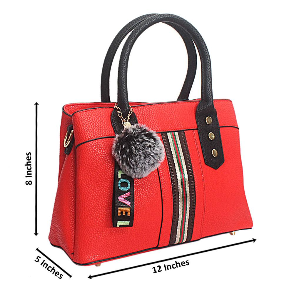 Love Charm Red Leather Small Tote Handbag
