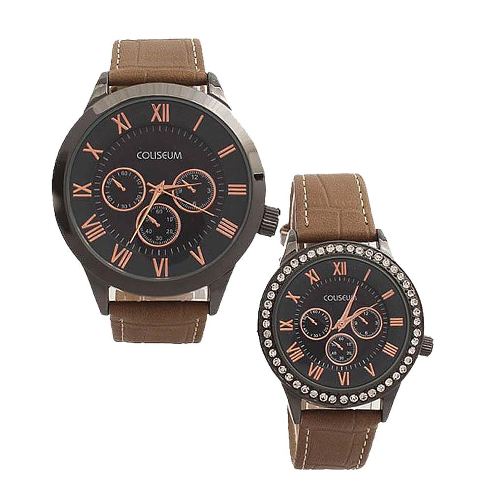 Coliseum Treasure Brown Leather Couples Watch-