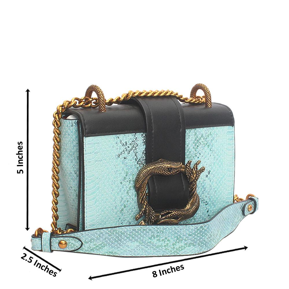 Blue Black Leather  Crossbody Bag