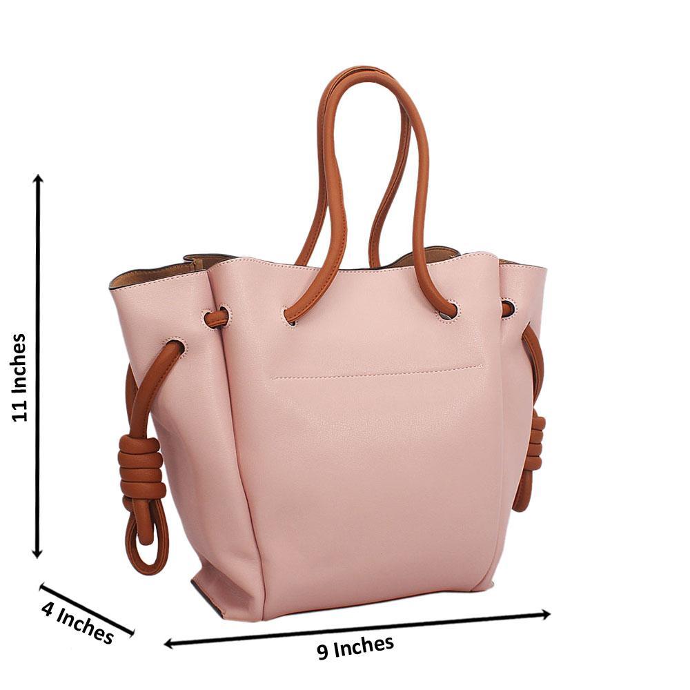 Pink Brown Cowhide Leather Drawstring Shoulder Handbag