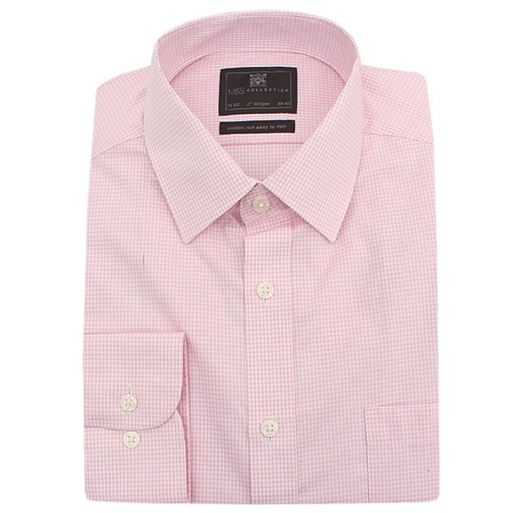 M&S Collection Pink White Check L/Sleeve Men Shirt