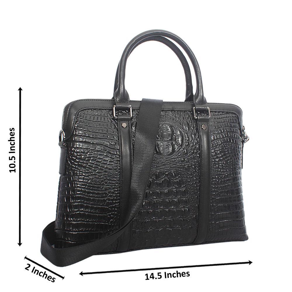 Black Animal Pattern Cowhide Briefcase