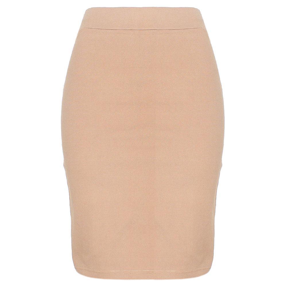 Beige Cotton Stretch Skirt